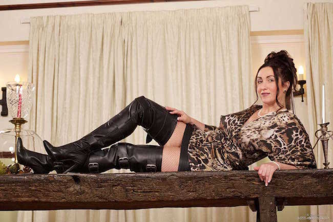 Miss Hybrid leather skirt and thigh boots magic wand frenzy.